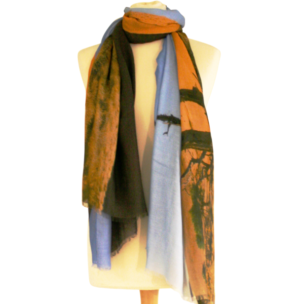 Namibian Desert Under a Blue Sky Scarf by Red Rhino Tied Closeup