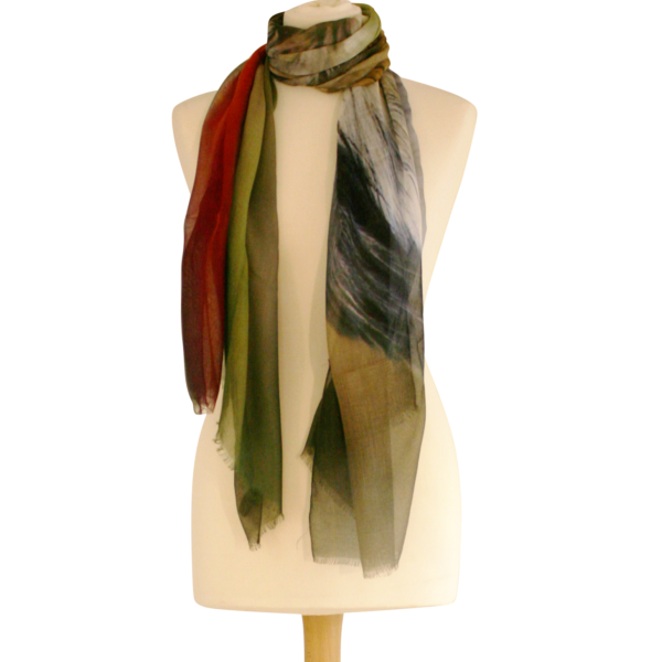 Redbilled Hornbill Scarf by RedRhino Tied Closeup