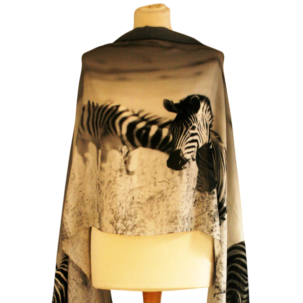 Grazing Zebras Scarf by RedRhino Closeup